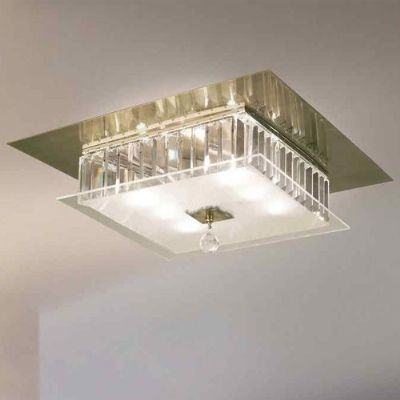 Tosca 6 Light Square Flush In Antique Brass With Crystal